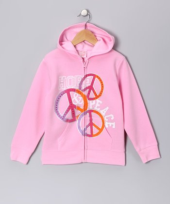 Light Pink Peace Sign Zip-Up Hoodie - Girls