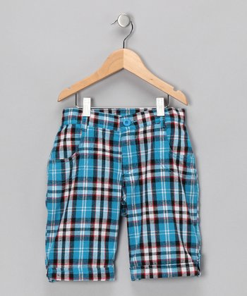 Blue Plaid Shorts - Girls