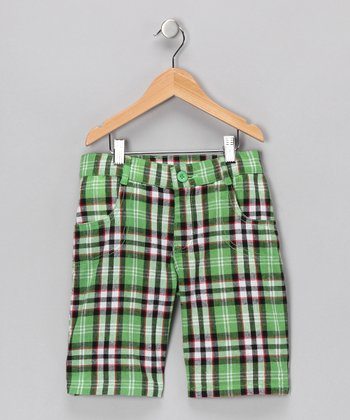 Green Plaid Shorts - Girls