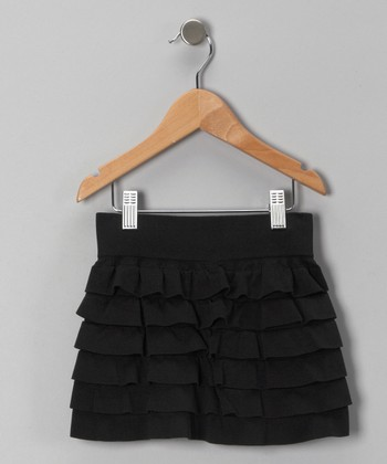 Black Ruffle Tiered Skirt - Toddler & Girls