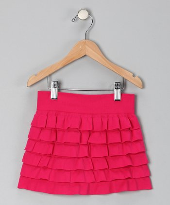 Fuchsia Ruffle Tiered Skirt - Toddler