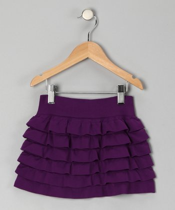 Purple Ruffle Tiered Skirt - Toddler & Girls