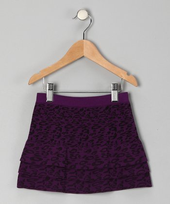 Purple Cheetah Tiered Skirt - Girls