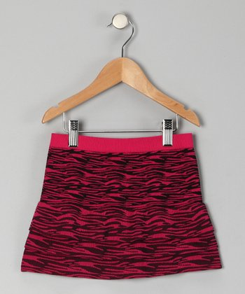 Fuchsia Zebra Tiered Skirt - Girls