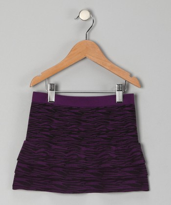 Purple Zebra Tiered Skirt - Girls