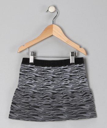 Black Zebra Tiered Skirt - Girls