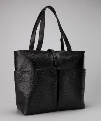 Black Faux Ostrich Leather Insulated Shopping Tote
