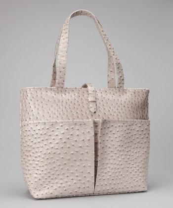 Gray Faux Ostrich Leather Insulated Shopping Tote