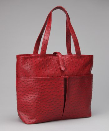 Red Faux Ostrich Leather Insulated Shopping Tote