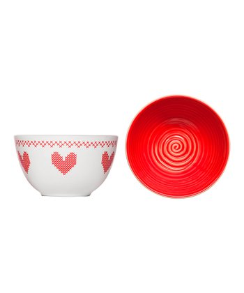 Red Cross-Stitch Bowl