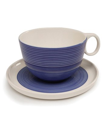 Blue & White Cup & Saucer - Set of Two