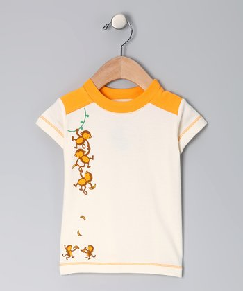 Natural & Orange Monkey Organic Tee - Infant