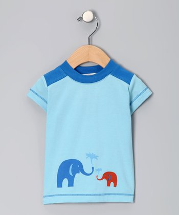 Light Blue Elephant Organic Tee - Infant
