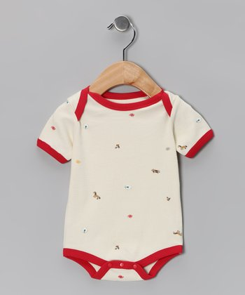 Red Farmyard Friends Organic Bodysuit - Infant