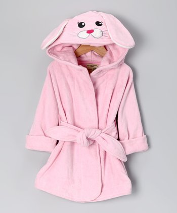 Pink Bunny Organic Hooded Robe - Infant & Toddler