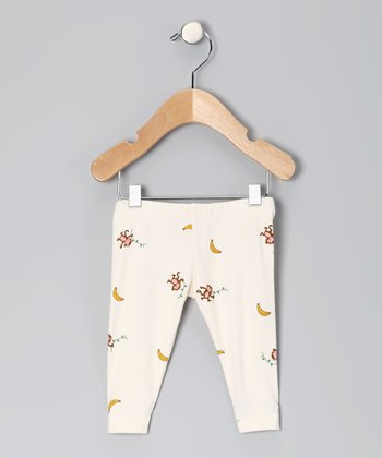 Natural & Pink Monkey Organic Leggings - Infant