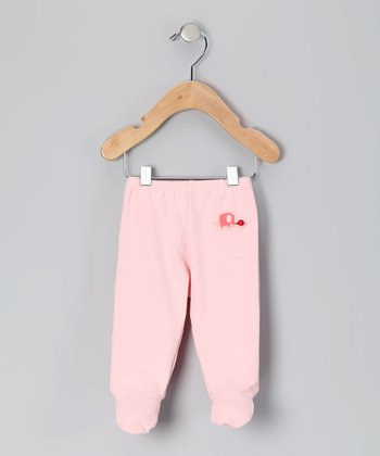 Pink Elephant Organic Footie Pants - Infant