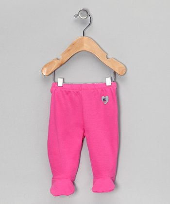Pink Heart Organic Footie Pants - Infant