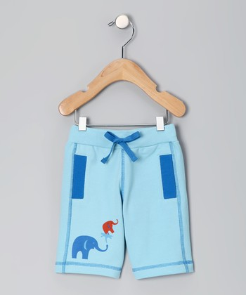 Light Blue Elephant Organic Shorts - Infant