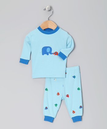 Blue Elephant Organic Pajama Set - Infant