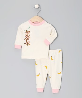 Natural & Pink Monkey Organic Pajama Set - Infant
