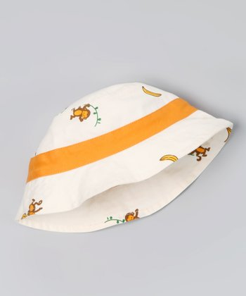 Natural & Orange Monkey Organic Sunhat
