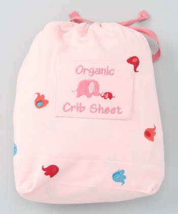Pink Elephant Organic Crib Sheet