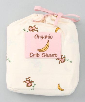 Natural & Pink Monkey Organic Crib Sheet