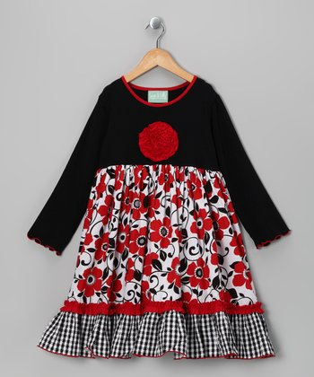 Black & Red Blossom Caroline Dress - Infant, Toddler & Girls