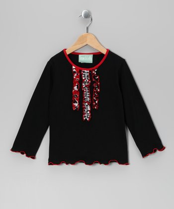 Black Blossom Ruffle Tee - Infant, Toddler & Girls