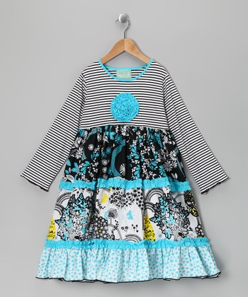 Blue Stripe Magic Garden Katie Dress - Infant, Toddler & Girls