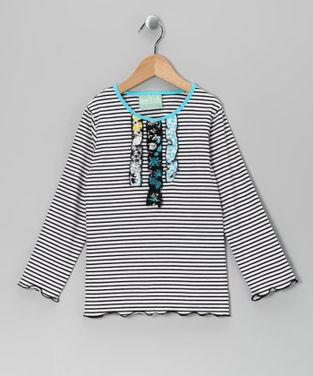 Black Stripe Magic Garden Ruffle Tee - Infant, Toddler & Girls