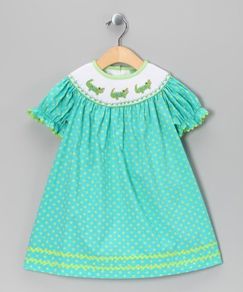 Blue Polka Dot Alligator Bishop Dress - Infant, Toddler & Girls