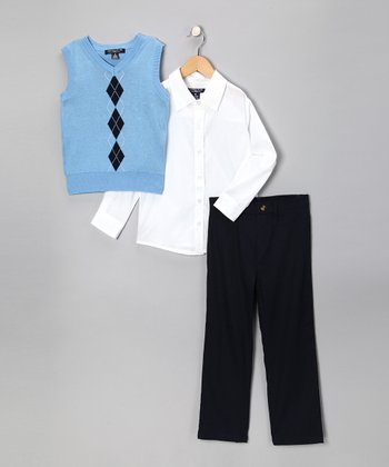 Light Blue Argyle Vest Set - Toddler & Boys
