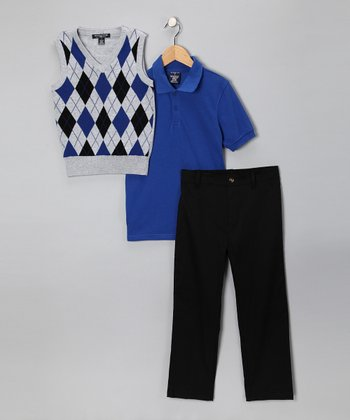 Black & Royal Argyle Polo Set - Boys