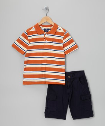 Orange Stripe Polo & Cargo Shorts - Toddler & Boys