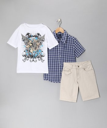 Stone & Navy Plaid Shorts Set - Toddler & Boys