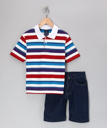 Red & Purple Stripe Polo & Shorts - Boys