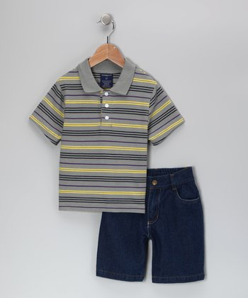 Navy & Yellow Stripe Polo & Shorts - Toddler & Boys