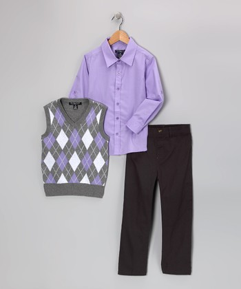 Charcoal & Lavender Argyle Vest Set - Boys
