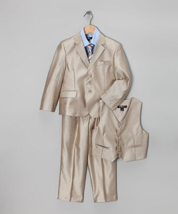 Gold & Blue Five-Piece Suit Set - Toddler & Boys