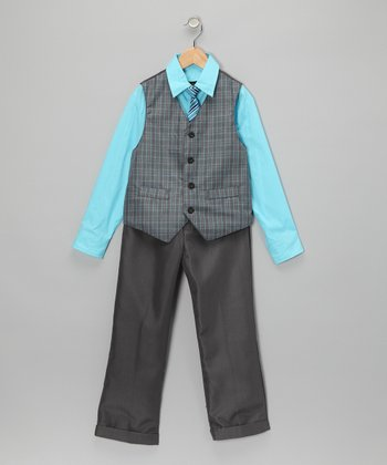 Aqua & Gray Vest Set - Toddler & Boys