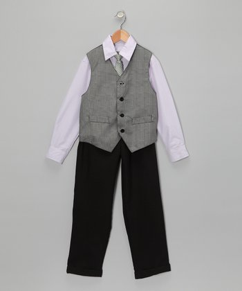 Lilac & Gray Vest Set - Toddler & Boys