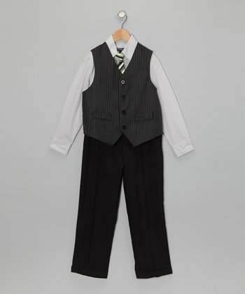 Silver & Black Vest Set - Toddler & Boys