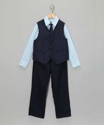 Sky & Navy Vest Set - Toddler