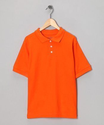 Orange Pique Polo - Boys