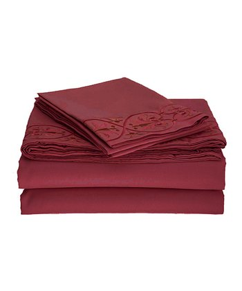 Burgundy Scroll Embroidered Wrinkle-Free Sheet Set