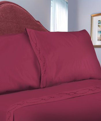 Burgundy Chain Link Embroidered Sheet Set