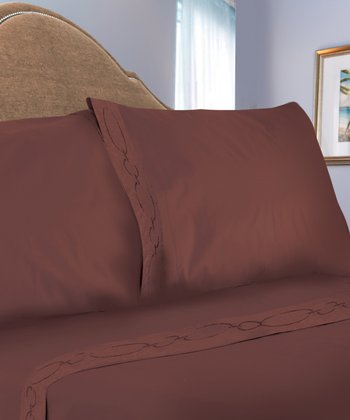 Chocolate Chain Link Embroidered Sheet Set