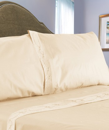 Ivory Chain Link Embroidered Sheet Set